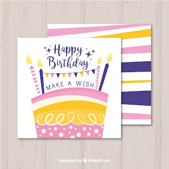 Birthday card with colorful cake