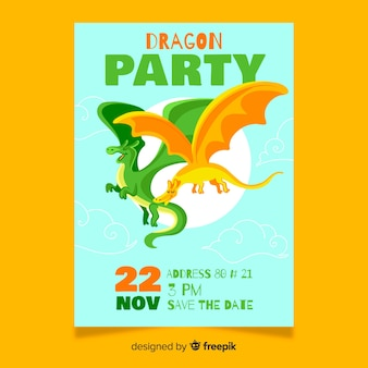 Birthday card with colorful dragons