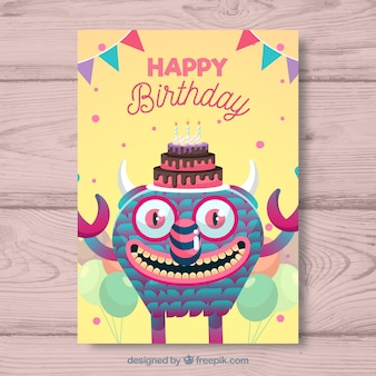 Birthday card with colorful monster and balloons