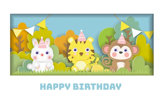 Birthday card  with cute animals party in the forest . paper cut style.