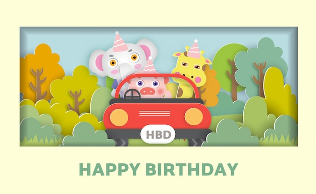 Birthday card  with a cute animals siting in a car in the forest for greeting card, post card.