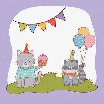 Поздравительная открытка с милыми животными в лесу