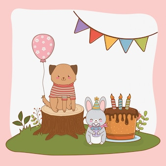 Birthday card with cute animals woodland