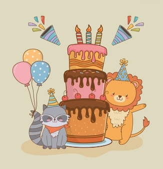 Birthday card with cute animals woodland