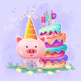 Birthday card with cute baby pig cartoon.