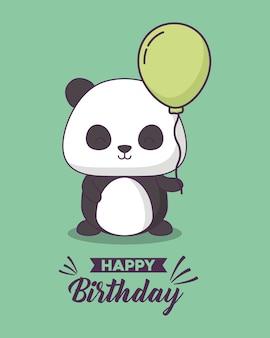 Поздравительная открытка с милой медвежью персонажем панды каваи