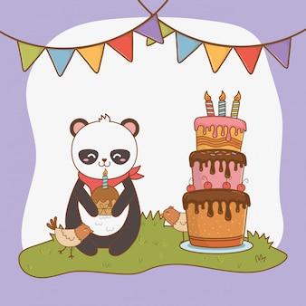 Birthday card with cute bear panda woodland