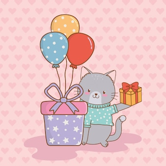 Birthday card with cute cat woodland