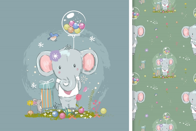 Birthday card with cute elephant and seamless pattern