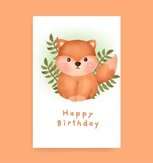 Birthday card with cute fox in watercolor style