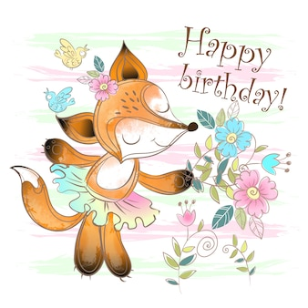 Birthday card with a cute fox with flowers.
