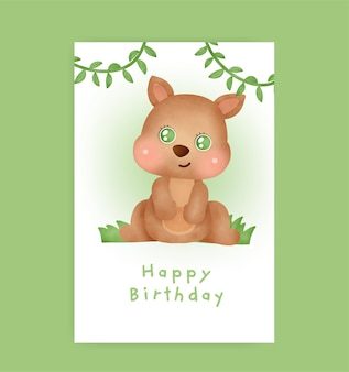 Birthday card with cute kangaroo in watercolor style