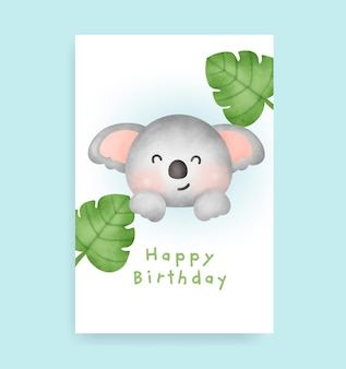Birthday card with cute koala in watercolor style