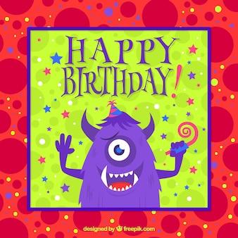 Scheda di compleanno con un mostro simpatico