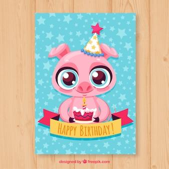 День рождения с милой свининой в ручном стиле