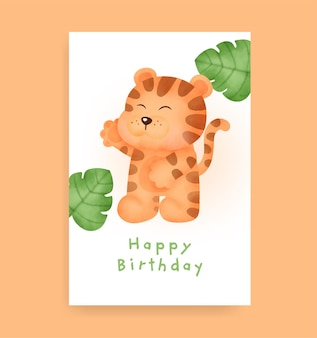 Birthday card with cute tiger in watercolor style