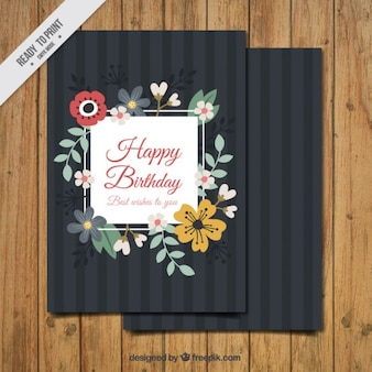 Birthday card with floral details in vintage style