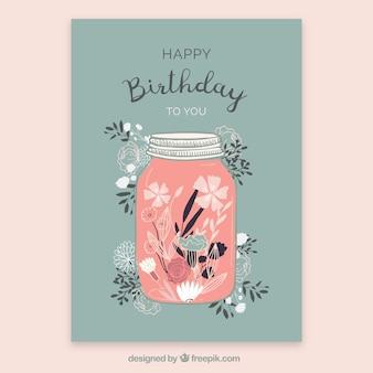 Birthday card with flowers in hand drawn style