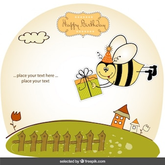 Birthday card with funny bee