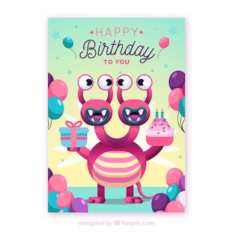 Birthday card with funny monsters