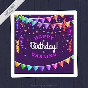 Birthday card with garlands
