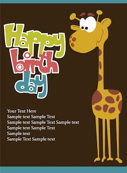 Birthday card with giraffe vector