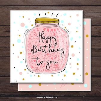 Birthday card with glass jar and decorative items