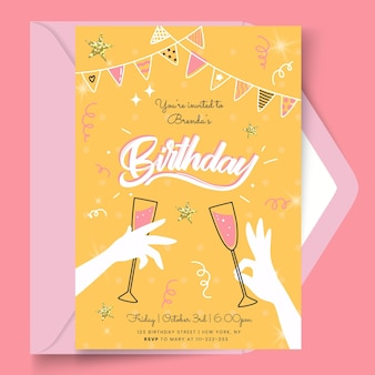 Birthday card with glasses template