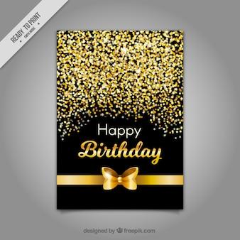 День рождения открытка с золотым бантом