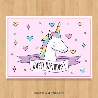 Scheda di compleanno con il volto unicorno felice