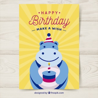 Birthday card with hippopotamus in flat style