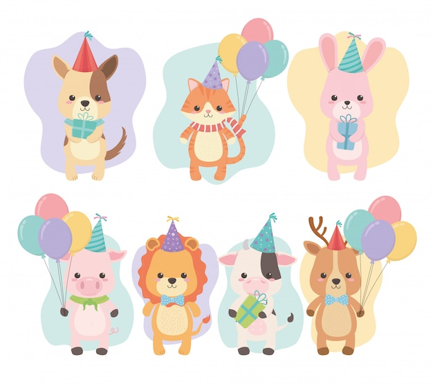 Birthday card with little animals characters