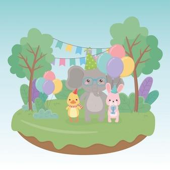 필드 문자에 작은 동물 생일 축 하 카드