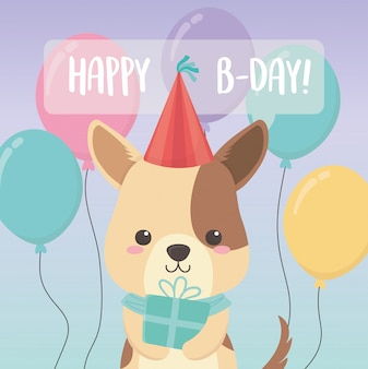 Birthday card with little dog character
