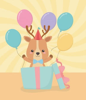 Birthday card with little reindeer character
