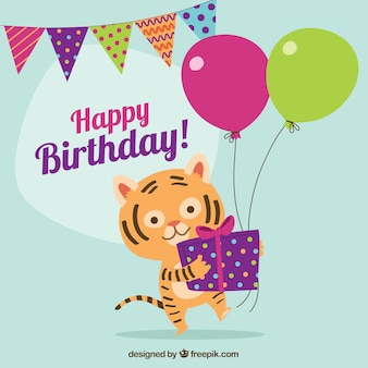 Birthday card with lovely tiger