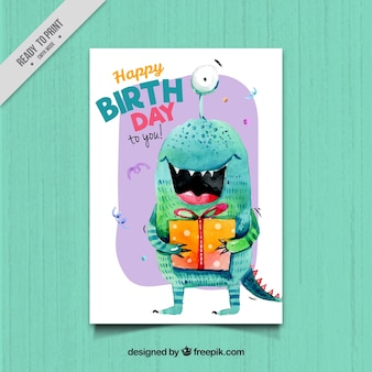 Birthday card with monster