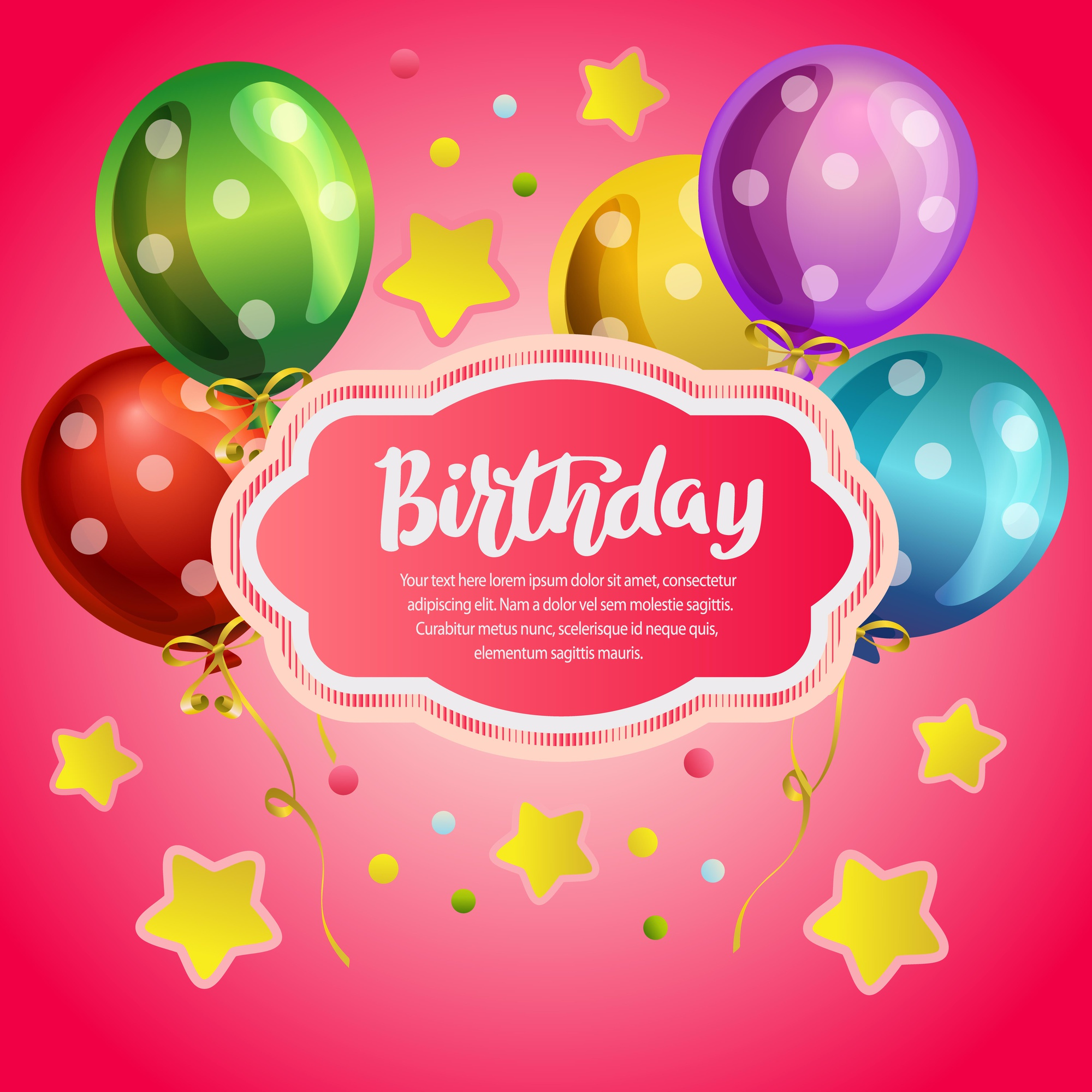 Birthday card with neon pink background