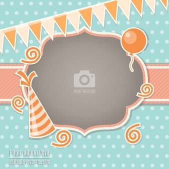 Birthday card with an orange frame
