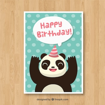 Birthday card with panda bear in flat style