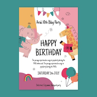 Birthday card with party animals