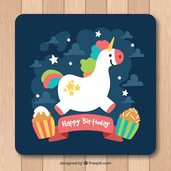 Birthday card with pretty unicorn and cupcakes