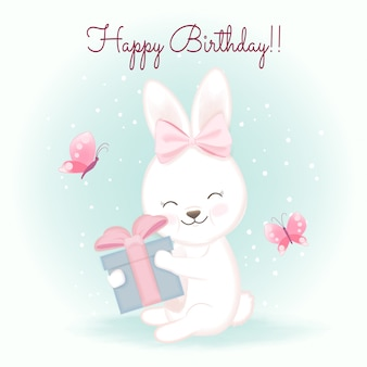 Birthday card with rabbit and gift, hand drawn cartoon watercolor illustration