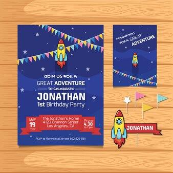 Birthday card with rocket design