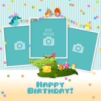 Birthday card with templates for photos