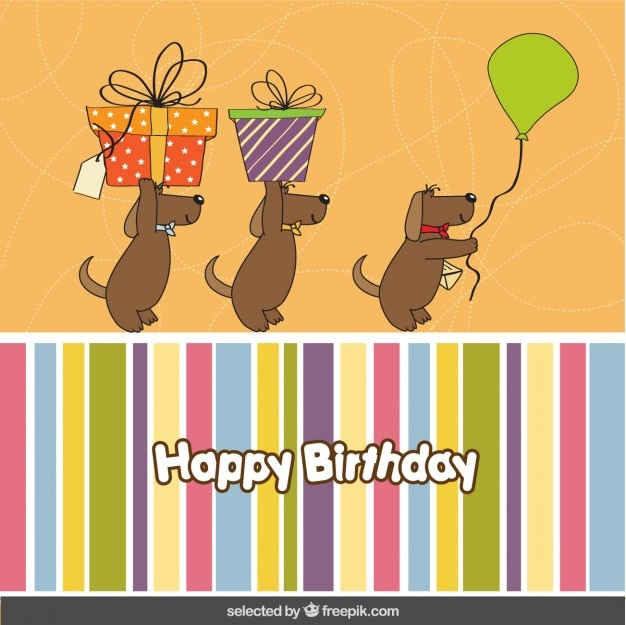 Birthday card with three lovely dogs