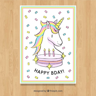 Birthday card with unicorn and cake