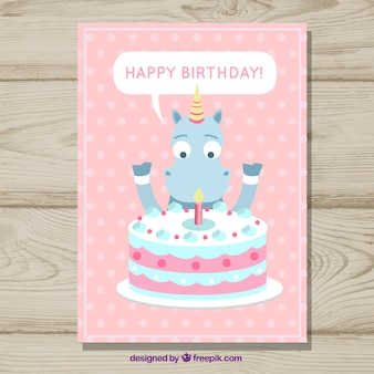 Birthday card with a unicorn and a cake