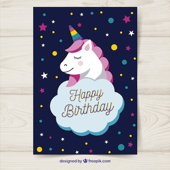 Birthday card with unicorn in hand drawn style