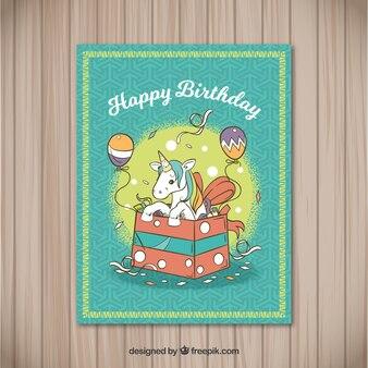 선물 상자에 유니콘 생일 축 하 카드